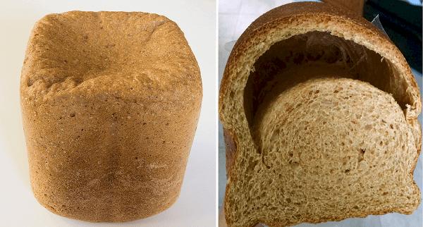 На фото – буханки хлеба после слишком долгой и очень короткой расстойки